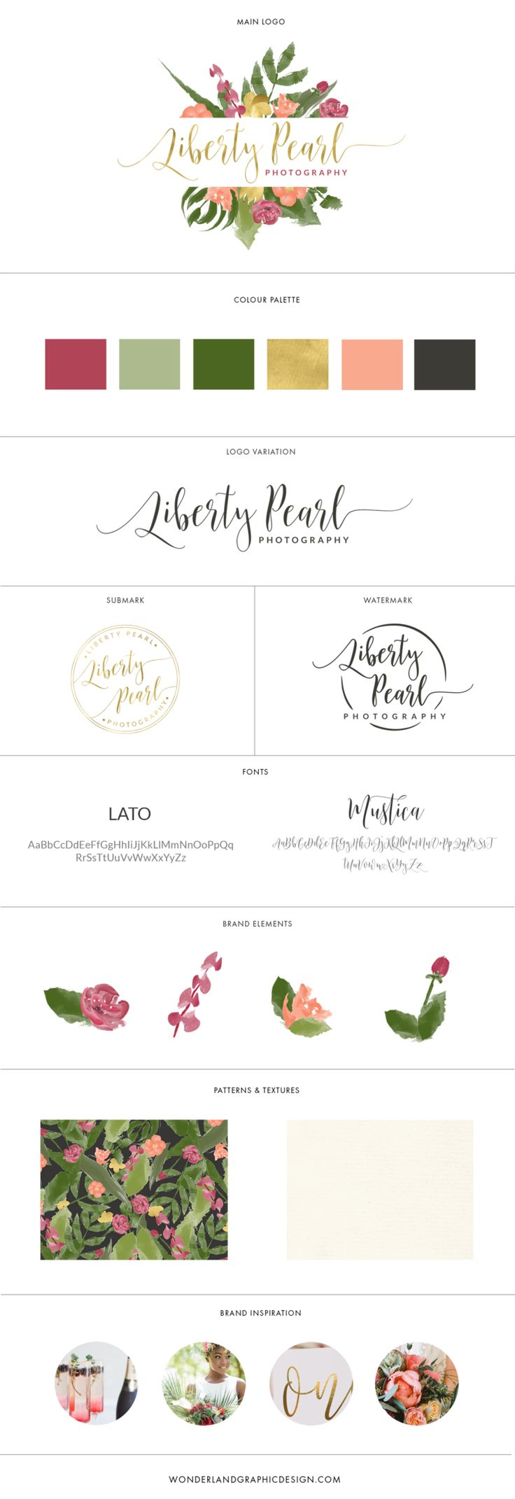 Brand board for Liberty Pearl Photographu. Brand style guide including main logo, submark, stamp, watermark, branding elements, exotic luxury feminine color palette, script font and sans serif typography,  Branding, female entrepreneurs, girlbosses, workspace pretty desk, small business owners & bloggers. Wedding photographer inspiration.