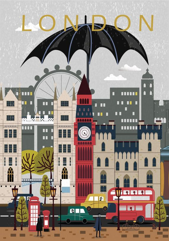 London City Poster Travel Print Wall Art von NordicDesignHouse