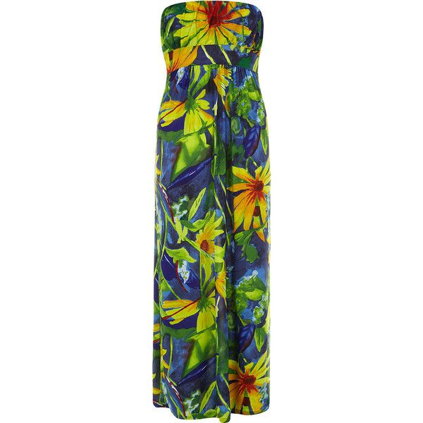 Petals Multi Coloured Maxi Dress featuring polyvore, women's fashion, clothing, dresses, maxi dress, long dress, multi colour, maxi dresses, floral-print dresses, green maxi dress, colorful maxi dress and floral print maxi dress