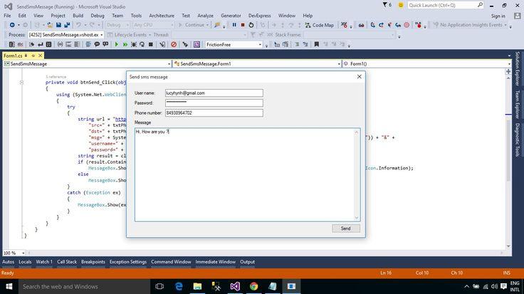 C Application Send sms message Programming tutorial