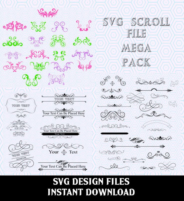 Scroll SVG File Mega Bundle  Collection. SVG Files used for Vinyl cutting and Silhouette Cameo Software, SVG Scroll Vector File by svgDesignFiles on Etsy