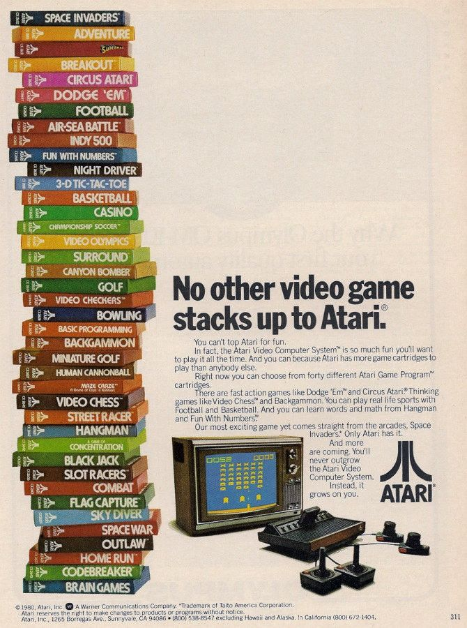 """Here is an awesome original 1980 advertisement for the Atari video gaming system. Remember those days of blasting invaders with the joystick! """"Our most exciting game yet comes straight from the arcade"""