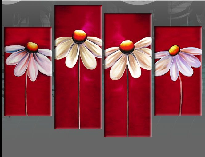 Details about RED FLORAL CANVAS DAISIES PAINTING WALL ART ...