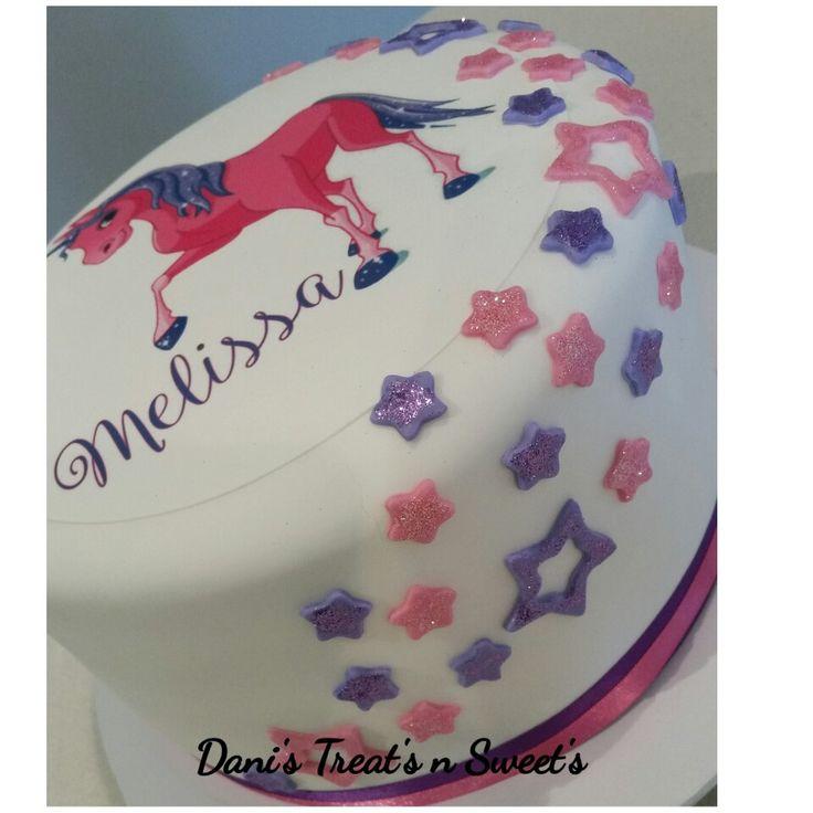 Personalised unicorn sparkle cake