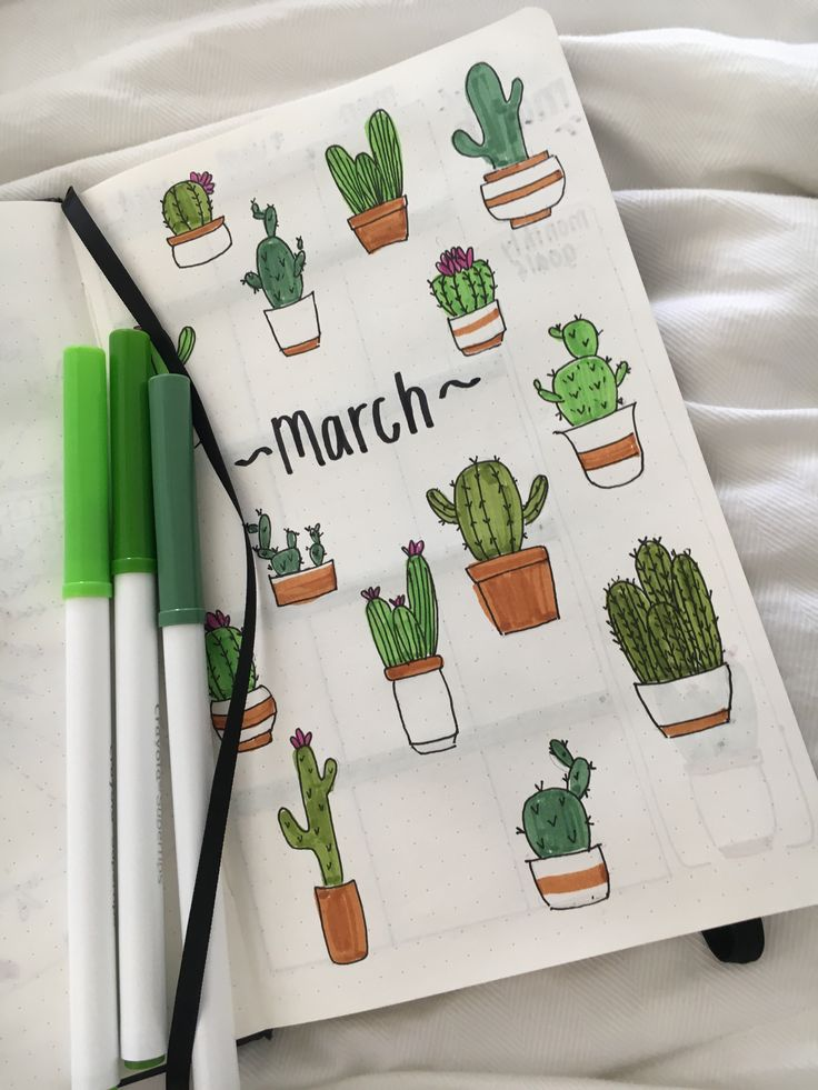 march bullet journal cover page spread. Cute cacti!