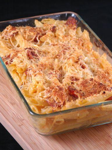Recette Gratin de pâtes au chorizo et curry