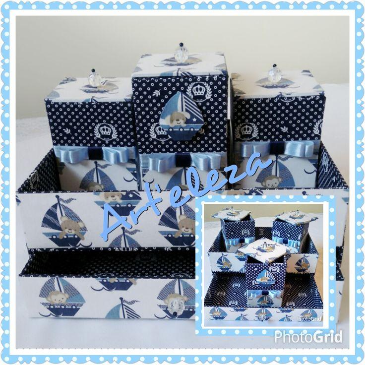 Kit higiene para bebê #menino #cartonagem #bebê #futuramamae #presentes #madrinha #quartodebebemenino