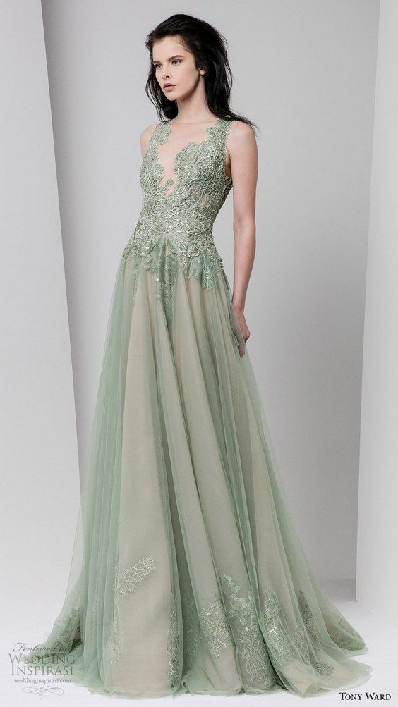 tony ward fall winter 2016 2017 rtw sleeveless illusion neckline a line evening dress powder green wedding inspiration / http://www.himisspuff.com/colorful-non-white-wedding-dresses/7/