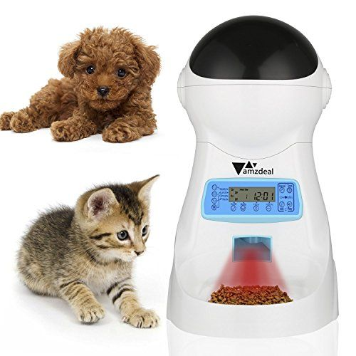 #Amzdeal #Automatic #Pet #Feeder #Cat #Dog #Feeder #Food #Dispenser with #Timer, #LCD #Display and #Sound #Recording FEED IN A RATION: The #automatic #cat #feeder provide flexible meal portions from 1 to 39 portions per meal, 5g for every portion, allows