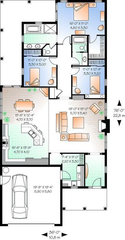 House Plan 03400671 Narrow Lot Plan 1,838 Square Feet