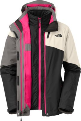 The North Face Women's 3-in-1 Cinnabar Triclimate Jacket has a waterproof, breathable 100% polyester HyVent® seam-sealed shell and removable Heatseeker™ liner to handle just about any weather conditions. It has a removable, adjustable hood and a brushed collar for comfort.
