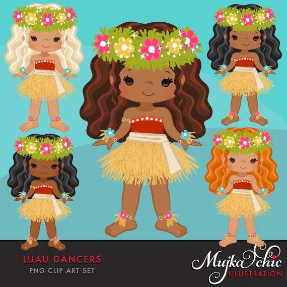 Luau Clipart Luau Dancers Hawaii Tropical Hula Girls Island Birthday Party Cute Straw Skirt Summer Graphics Black Native In 2021 Luau Clip Art Hula Girl