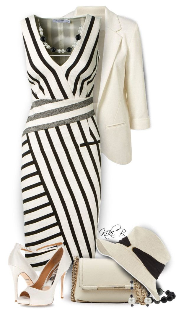 """Altuzarra Black And White Striped Dress"" by kiki-bi ❤ liked on Polyvore featuring Altuzarra, Emilio Pucci, DaVonna, Eugenia Kim, Badgley Mischka and Ice"