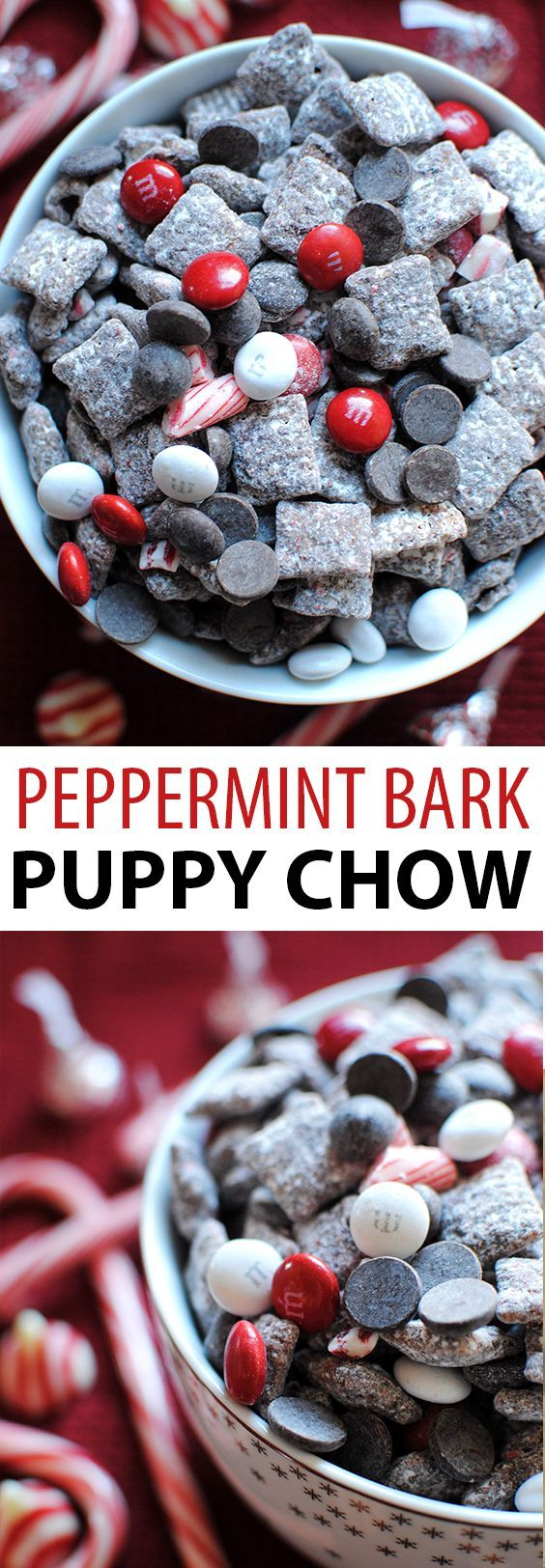 This peppermint bark puppy chow is made with Chex cereal, chocolate, candy cane hershey kisses, candy canes, and M&Ms. So easy to make and so yummy!