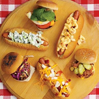 Hot dog & hamburger topping ideas:  my favorite:  A slice of American cheese, shredded barbecue pork and pickle slices