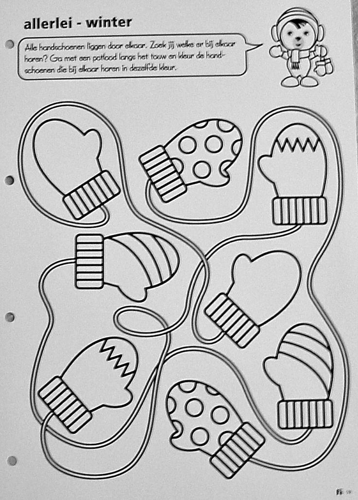 Werkblad : alle handschoenen liggen door elkaar. Zoek jij welke er bij elkaar horen ?