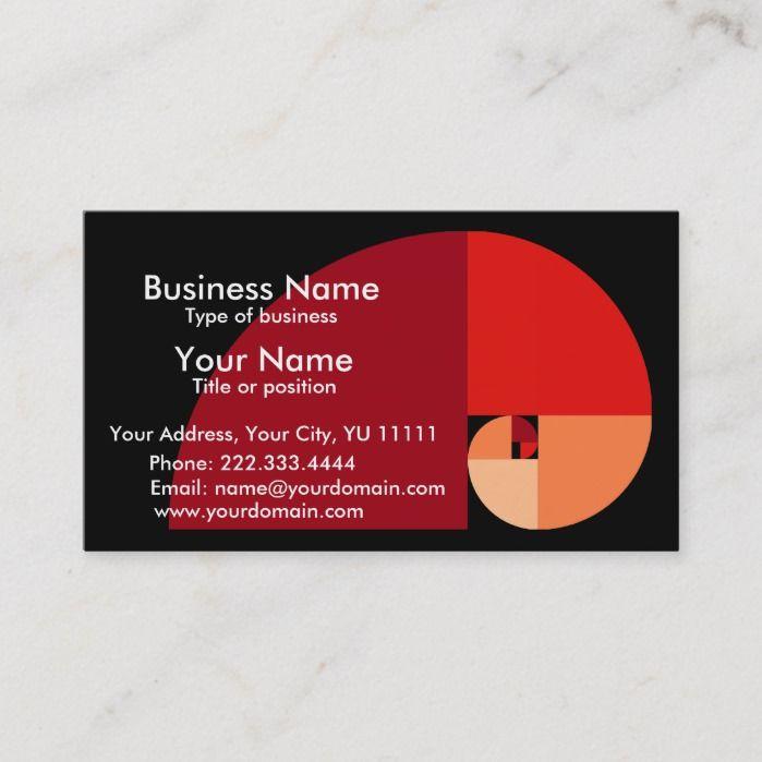 Golden Mean Fibonacci Spiral Art Business Card Zazzle Com Art Business Cards Fibonacci Spiral Art Spiral Art