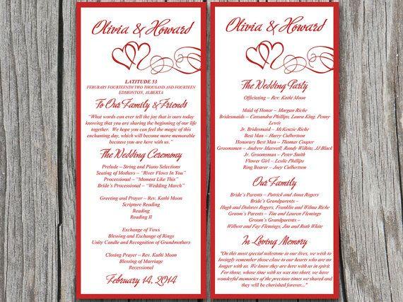 heart wedding program template download