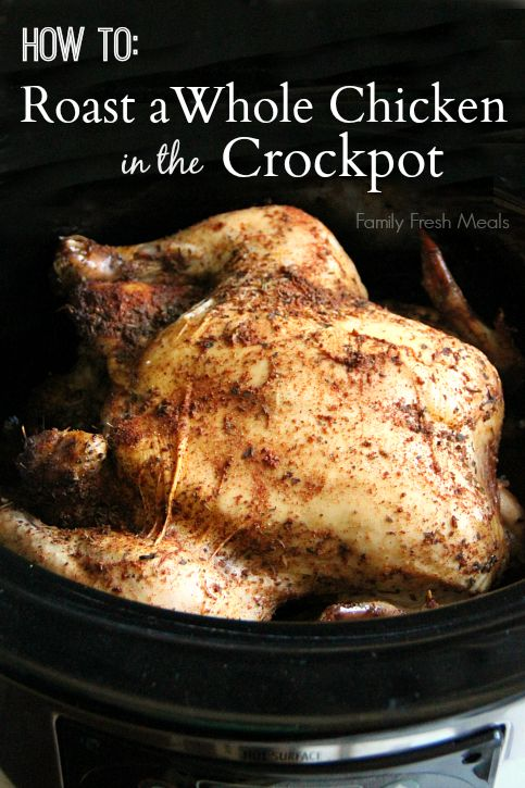 You are going to be shocked at how EASY it is to Roast a Whole Chicken in the Crockpot. The finished product is a moist, rotisserie like chicken.