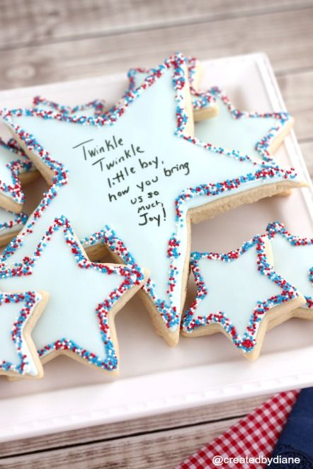 Star Cookies -- write in the middle with an edible marker! Such a cool idea!