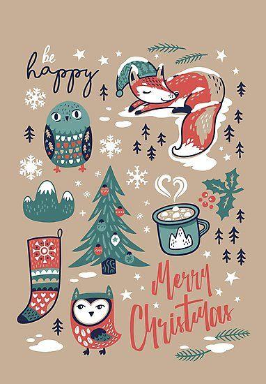 Weihnachten   Design   Fuchs und Eule   Weihnachtsbaum   Heiße Schokolade   Für deine Weihnachtskarten und Weihnachtsdeko zu Hause