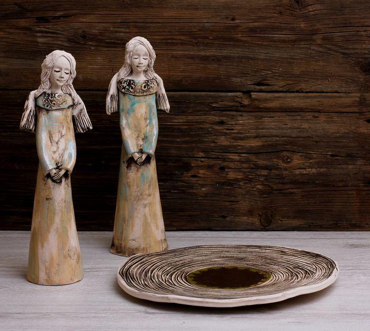 Anioły ceramiczne + patera