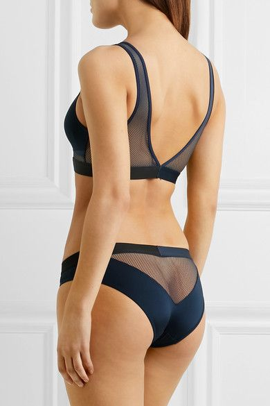 Calvin Klein Underwear - Id Stretch-jersey And Mesh Soft-cup Bra - Midnight blue - medium