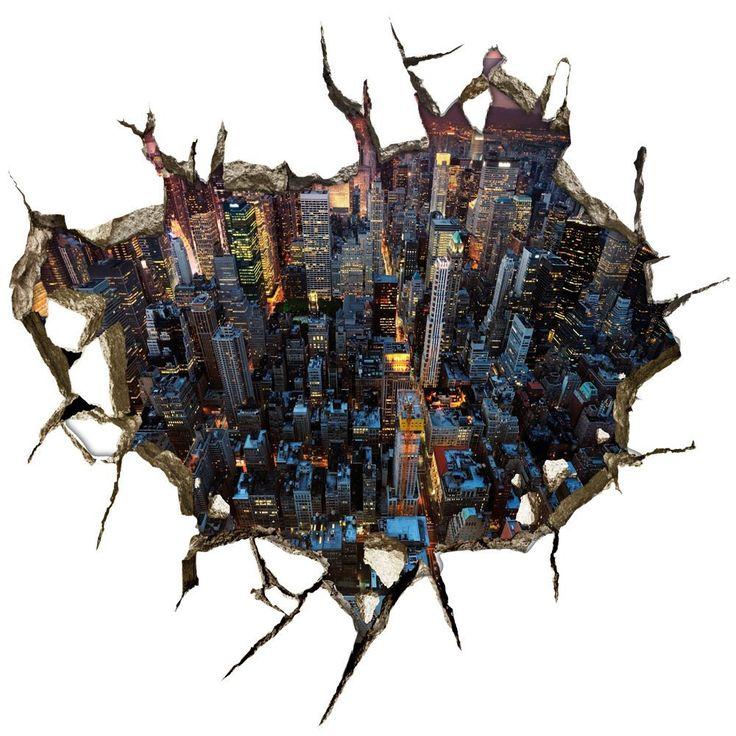 LifeUp 3D- Città Adesivi da Pavimenti Murali Pareti Grandi Camera da Letto Soggiorno, Regalo Originale Natale, 59cm×57cm Fai da Te!: Amazon.it: Casa e cucina