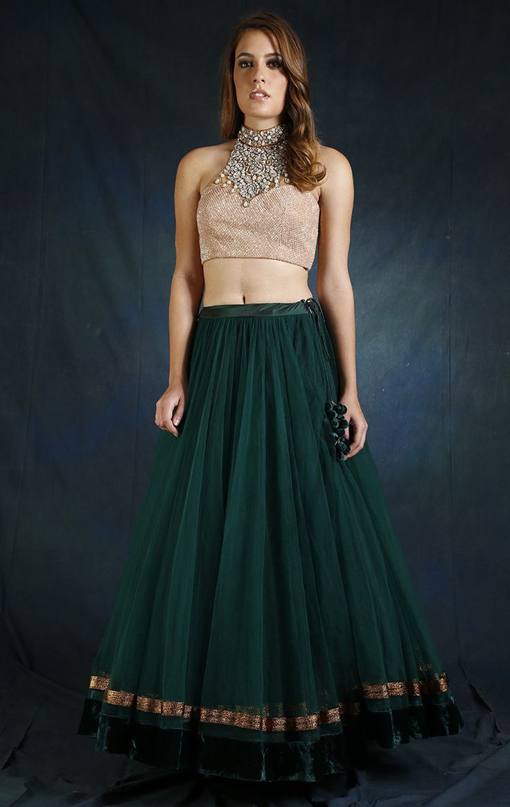 Corset With Green Lehenga from Wed In Vogue