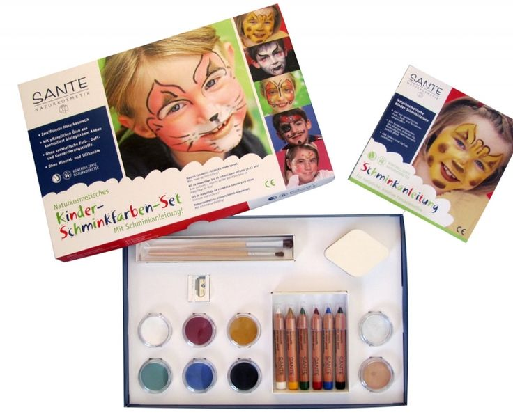 Halloween is close! Do not miss the fun, miss the chemicals!  Kids' face paints are marvellous for mixing together, and produce transparent effects when they're diluted with water. Go ahead and try it. You'll be surprised how easily you can magic up amazing colorful masks with our natural cosmetic colors. Enjoy the fun! Sante Make up Set for #kids #natural #organic #Halloween - Vasilia