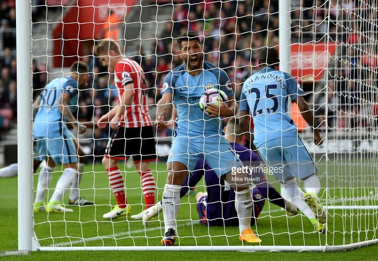 Sergio Aguero of Manchester City celebrates after Vincent Kompany of Manchester City (not pictured) scores Manchester City's first goal during the Premier League match between Southampton and Manchester City at St Mary's Stadium on April 15, 2017 in Southampton, England.
