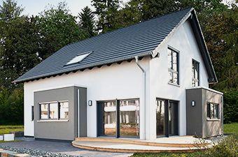 Musterhaus Fertighaus NEO in Wuppertal: Außenansicht Garten
