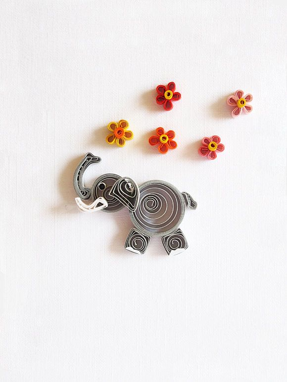 Thanks quilled elephant - handmade greeting card