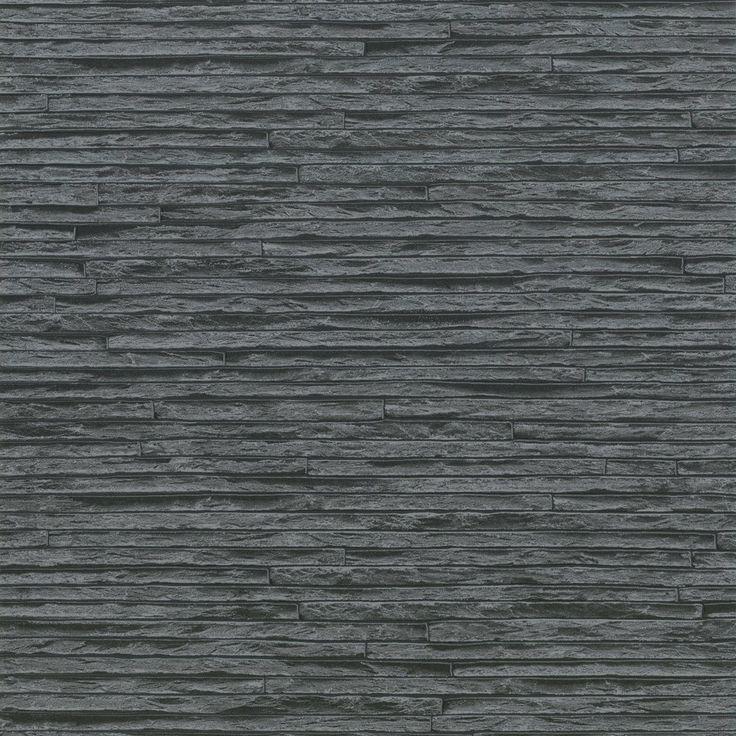Wood Look Wallpaper Uk Part - 32: Erismann Brix Slate Brick Effect Wallpaper Grey / Black - Erismann From I  Love Wallpaper UK