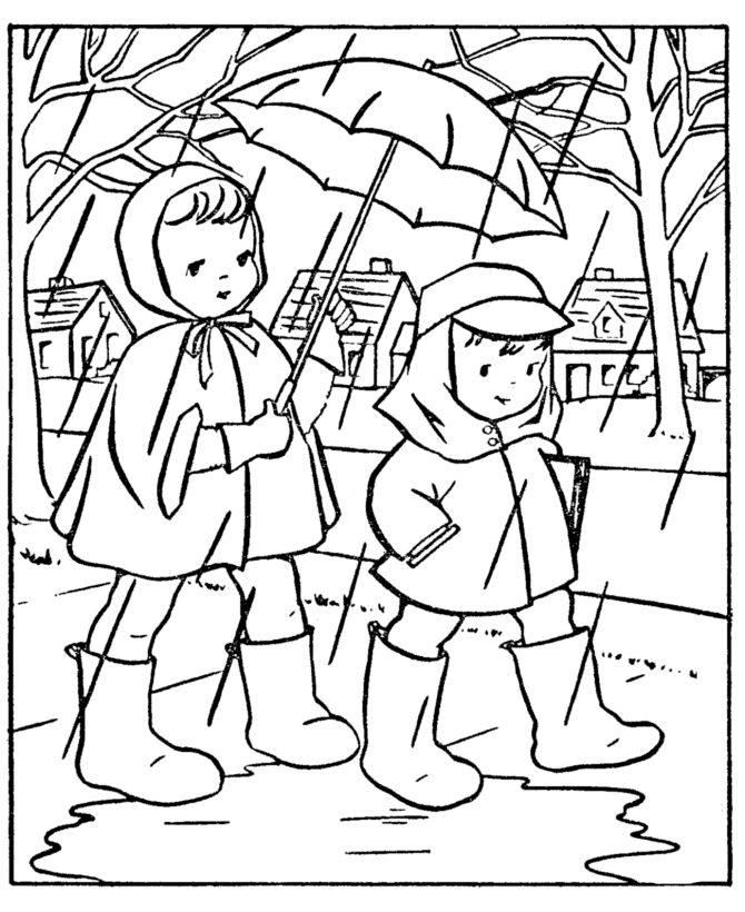 Spring Coloring Pages - Kids Going to School in the rain ...