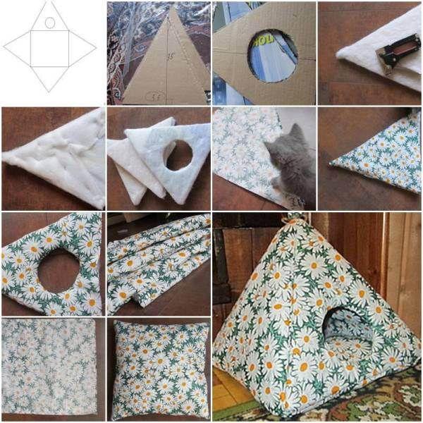 Katzen Zelt / Höhle nähen - Easy DIY Cat Tent - diy-cozy-cat-tent