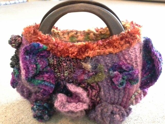 Freeform knitted bag using Marion's & my wool, front. Started 2014 finished 2016. By Kath Cole