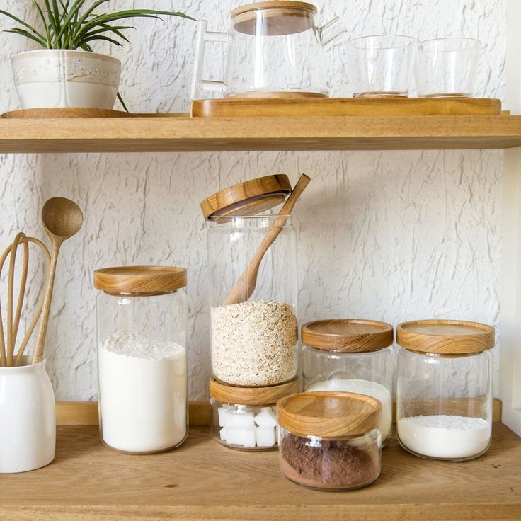 Japan Zakka Style Glass Spice Jar Kitchen Canisters Cookie Jars Wooden Lid 3 Pieces Spices Storage Box Candy Jar High Quality-in Storage Bottles & Jars from Home & Garden on Aliexpress.com | Alibaba Group