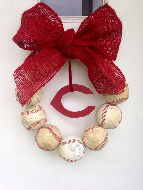 Cincinnati Reds Burlap Baseball Wreath by NTgoodthings on Etsy