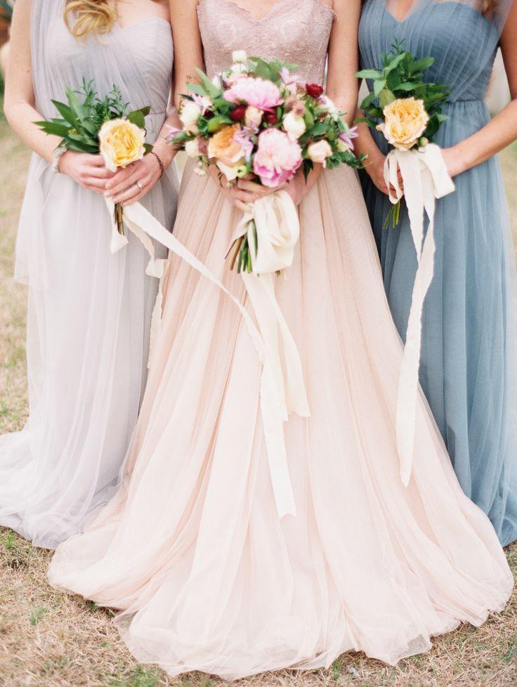 Oastel Wedding: Stunning Pastel Gowns: Http://www.stylemepretty.com/2015