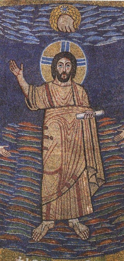 Basilica Santa Prassede, Roma. Cristo nel abside. I mosaici nello stile bizantino. 817-826. Il periodo dei Carolingi