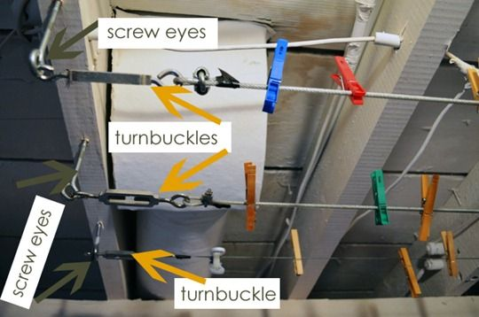 Great tutorial for setting up an inside laundry line in the basement. She also has a separate article with useful pics of the finished setup (in use).