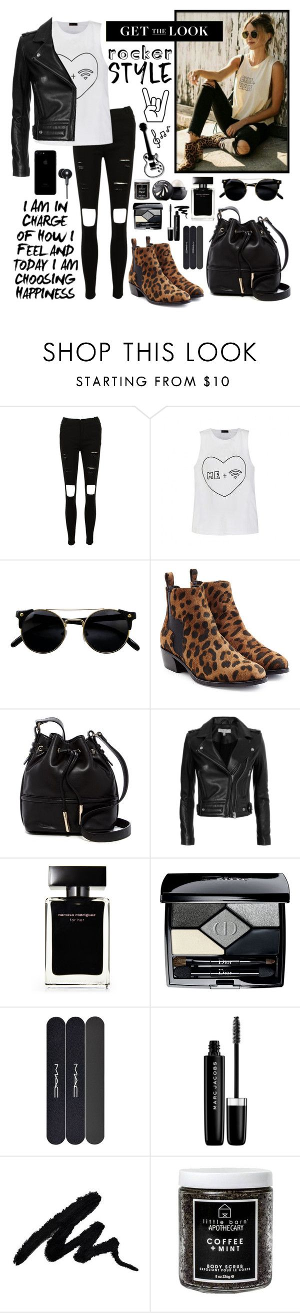 """Get The Rocker Look"" by whims-and-craze ❤ liked on Polyvore featuring Ally Fashion, Pierre Hardy, French Connection, IRO, Narciso Rodriguez, Eos, Christian Dior, MAC Cosmetics, Marc Jacobs and Little Barn Apothecary"