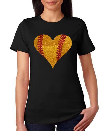 Softball Heart Women's Glitter Bling TShirt by SportsBlingandMore, $22.00