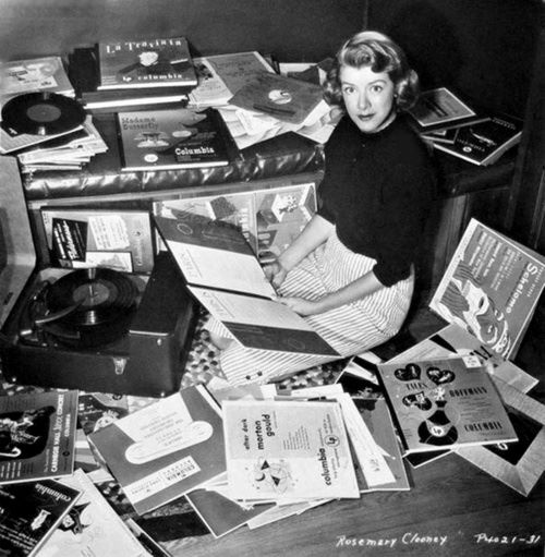 Rosemary Clooney listening to records.
