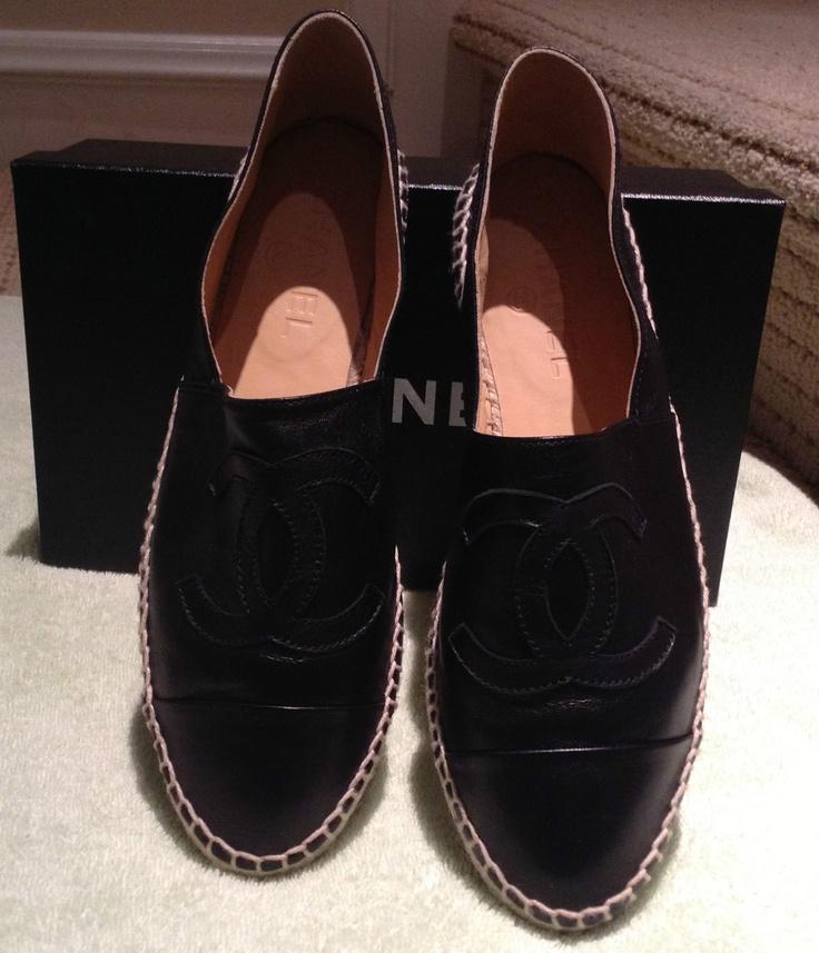 Chanel Espadrilles Black Leather Flats