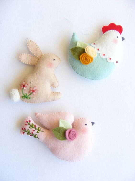 PDF pattern - Easter ornaments - Bunny, hen and dove felt ornament, easy sewing pattern, DIY wall hanging decoration, spring embroidery: