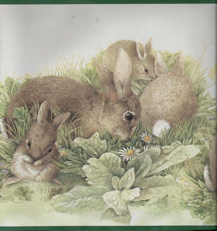 Wallpaper Cute Baby Cartoon Marjoelin Bastin Bunnies Rabbits Butterflies Green Trim