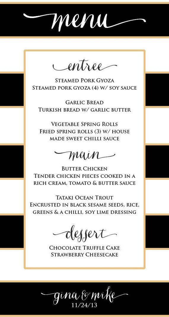 Printable menu cards  Custom menu  calligraphy by FreshmintPaperie, $16.50