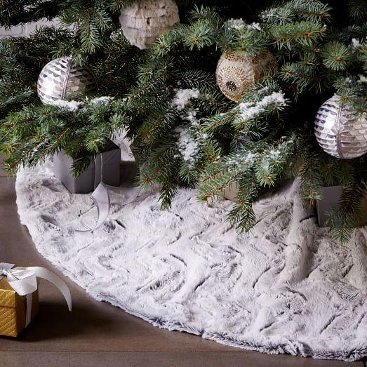 Faux Fur Tree Skirt - Stone White Swirl   west elm